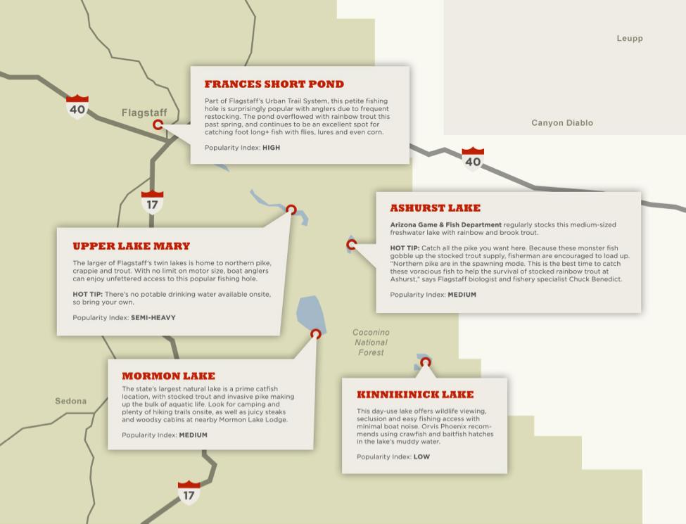 Where to Fish in Flagstaff map Blog Mormon Lake Lodge